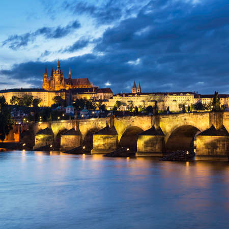 st charles: Prague at night, Charles Bridge and the Castle from across the river