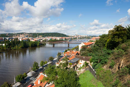 View over Vltava river in Prague from Vysehrad hills photo
