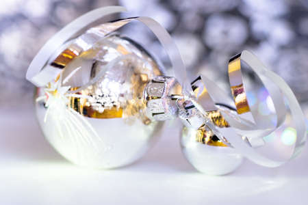 silver reflection: Silver Chtistmas baubles on abstract background Stock Photo