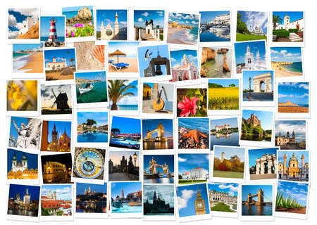 Travel in Europe and nature collage Editorial