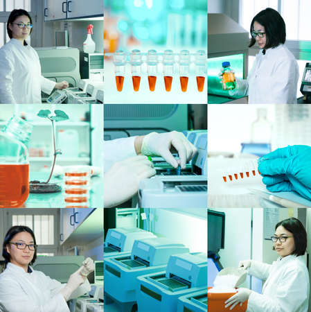 lab tech: Molecular biology, PCR and professional oriental researcher, collage Stock Photo