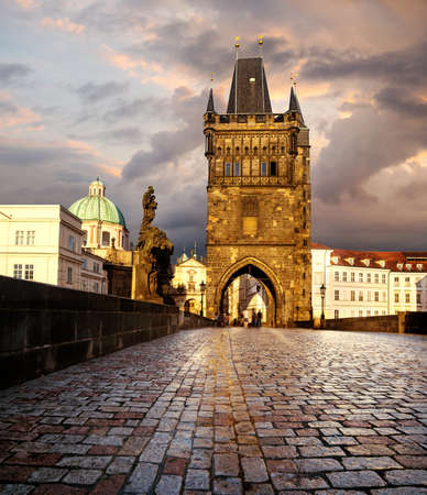 Prague, Charles Bridge in the evening after rain photo