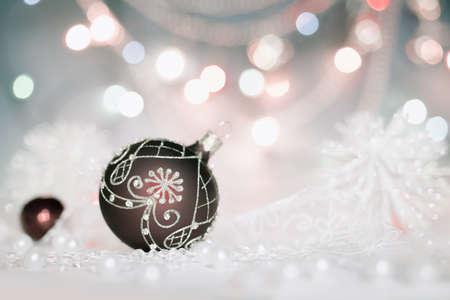 selebration: Christmas ball on abstract holiday background