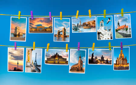 Collage with postcards of European landmarks on blue