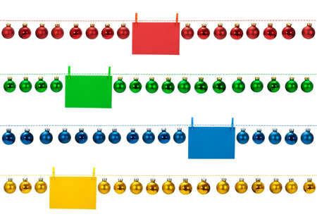 Horizontal seamless Christmas borders with glass baubles on white background, photo Stock Photo - 24228587