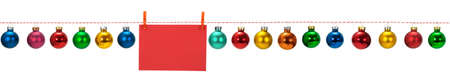 Horizontal seamless Christmas border with glass baubles on white background, photo photo