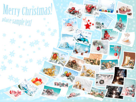 Set of Christmas pictures flying over abstract winter  photo