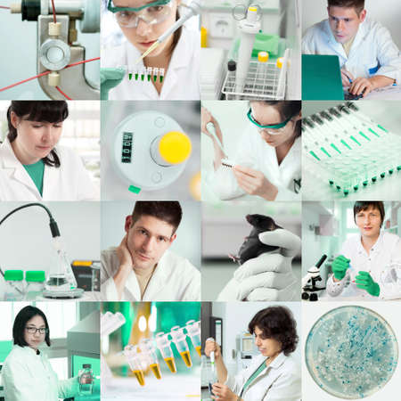 Set of pictures of scientists working in the lab, tinted image Stock Photo - 24370606