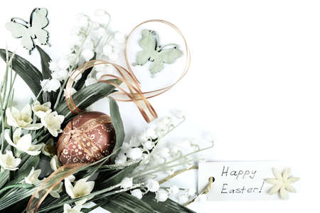 Easter corner composition on neutral background, text space photo