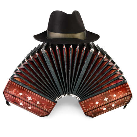 milonga: Closeup on bandoneon with black male hut on top on white  Stock Photo