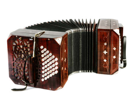 milonga: Closeup on bandoneon on white  Stock Photo