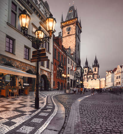 street lamp: Prague, Old City Hall on the Town Square early evening Editorial