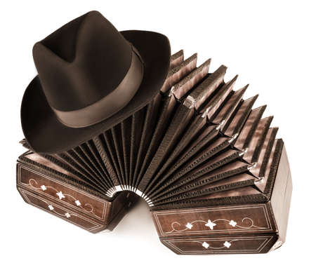 バンドネオンと白い背景の上の男性の帽子