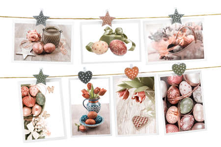 Easter cards pinned on the rope on white background photo