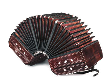 milonga: Bandoneon, tango instrument, three quarters view, on white background