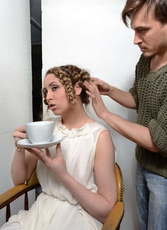 hair stylist: Male hair stylist at work