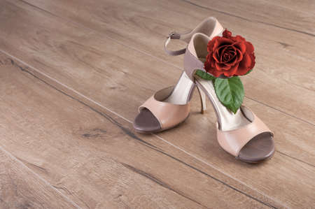 Argentine tango shoes with a rose on wooden floor, text space photo