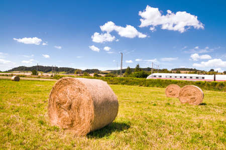 Hay rolls on the field and a passing bullet train photo