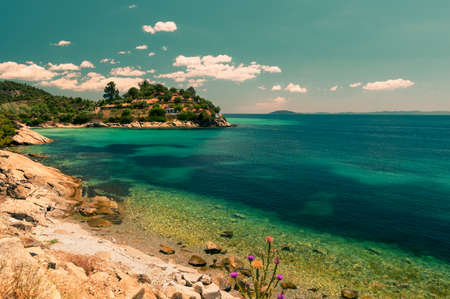 sithonia: Coast in Sithonia, Halkidiki, Northern Greece, toned image Stock Photo