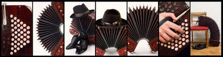 Argentine tango music, collage with closeups on bandoneon and tango-related objects photo