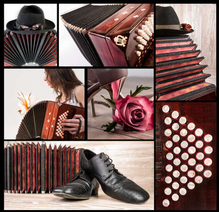 bandoneon: Argentine tango, set of tango-related images on black background