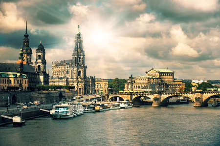 water town: Panorama of Dresden Old Town across the water, tinted image