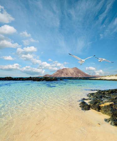 lanzarote: Wild seashore in Fuerteventura, Canary islands, Spain Stock Photo