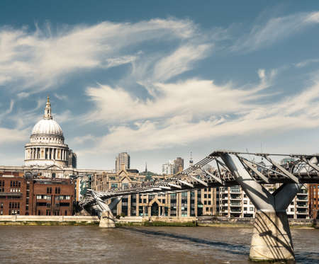 London, Millenium Bridge and St  Paul photo