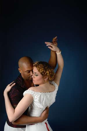 A couple dancing cuban salsa, text space photo