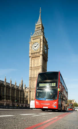 city of westminster: Red doubledecker bus in front of Big Ben in London
