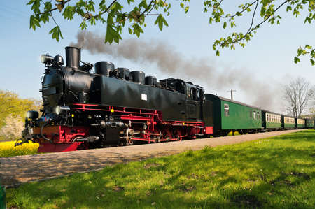 Historical German steam train passes through the fields