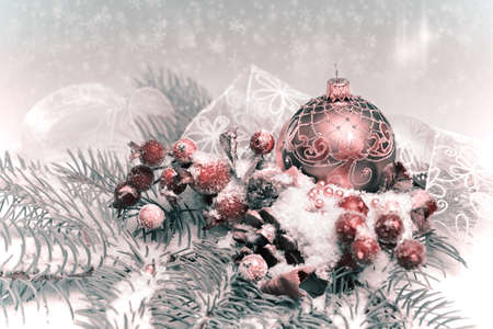 Christmas decorations, tinted image, text space photo