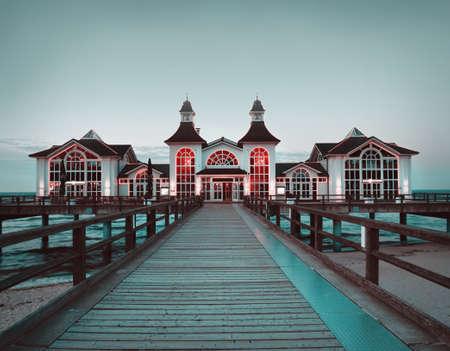 east coast: Seebrucke Sellin, a famous historical house on island Ruegen in Germany, toned image