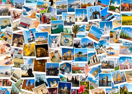 Cestování v Evropě, sada polaroid obrázků
