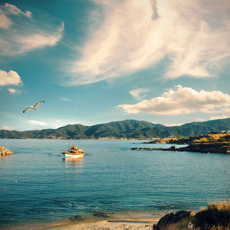 approaches: Fisherman boat approaches the shore late in the day  Sithonia, Northern Greece, tinted image