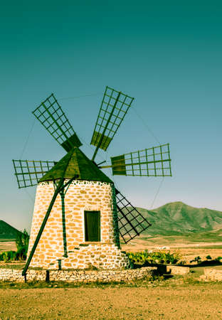 traditional windmill: Traditional windmill,  Fuerteventura, Canary islands, Spain, tinted image