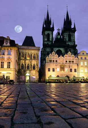 old town square: Prague, Old Town Square at night with St Mary