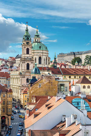 nicolas: St  Nicolas church, St  Vitus Cathedral and and roofs of Prague, an aerial view