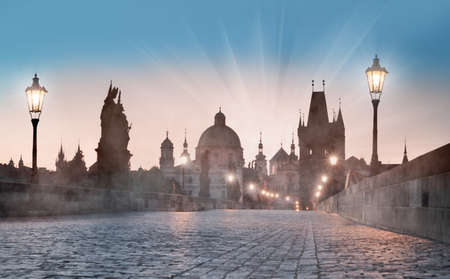 street lamps: Prague, Charles Bridge early morning Stock Photo