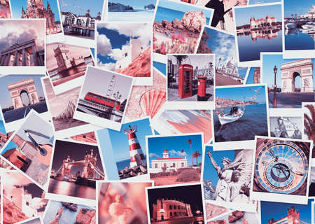 Travel in Europe, set of polaroid pictures