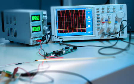 test equipment: Modern electronic equipment in computer service centre