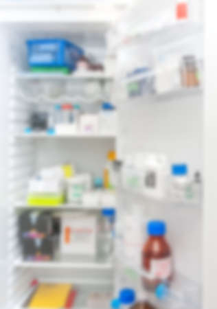 cold storage: Scientific or medical fridge out of focus, scientific or medical background image