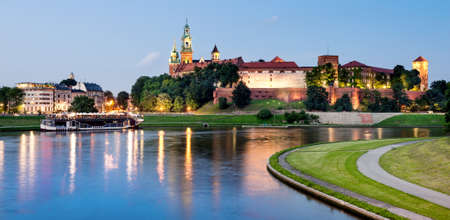 poland: Poland, Krakow, Wawel at night Editorial