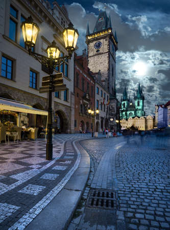 streetlight: Prague, Old City Hall on the Town Square in the evening