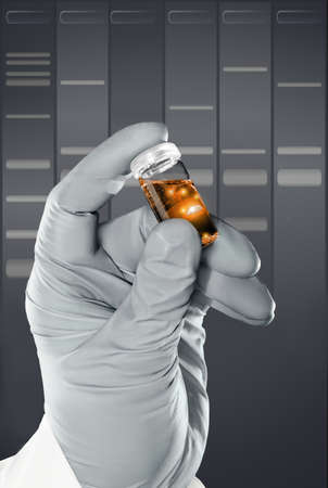 nitril: Gloved hand holds a liquid sample in plastic vial in front of DNA gel background Stock Photo
