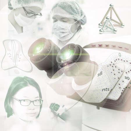 Microscope in research laboratory, scientific background photo