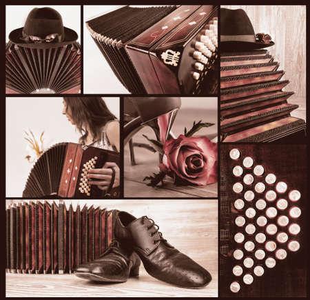 bandoneon: Argentine tango, set of tango-related images on black background, toned image