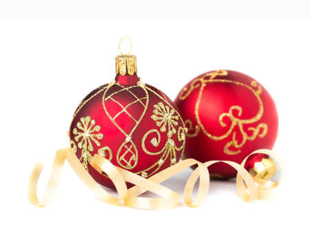 Two red Christmas Baubles on white background Zdjęcie Seryjne