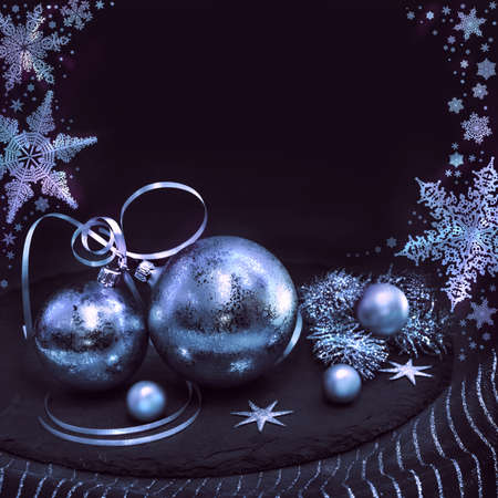 silver: Silver Christmas decorations on black background, space for your text Stock Photo