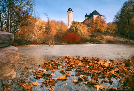house float on water: Autumn pond in Thuringia countryside in Central Germany Stock Photo